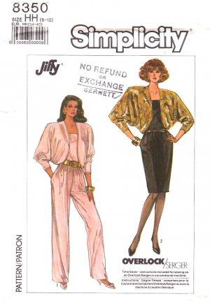 Simplicity Sewing Pattern 8350 Misses Size 6-12 Spaghetti Strap Jumpsuit Dress Bolero Lined Jacket