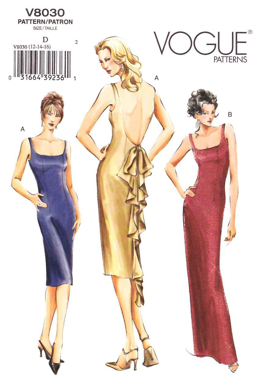 Vogue Sewing Pattern 8030 Size Misses 6-8-10 Easy Formal Evening Gown Dress