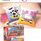 Simplicity Sewing Pattern 9227 Crafts Decorated Painted Applique Pillows Cushions Bear Postcard