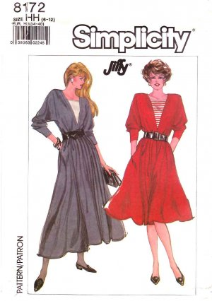 Simplicity Sewing Pattern 8172 Misses Size 14-20 Long Sleeve Gathered Skirt Dress