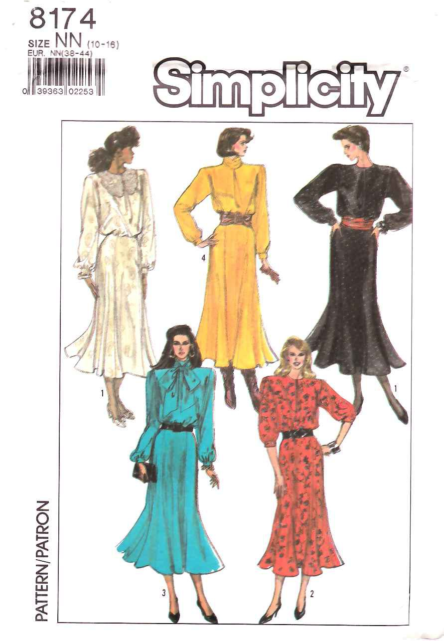 Simplicity Sewing Pattern 8174 Misses Size 14-20 Long Sleeve Gored Skirt Dress Neckline Options
