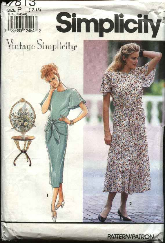Simplicity Sewing Pattern 7813 Misses Size 12-16 Vintage Simplicity Slim Flared Skirt Pullover Dress