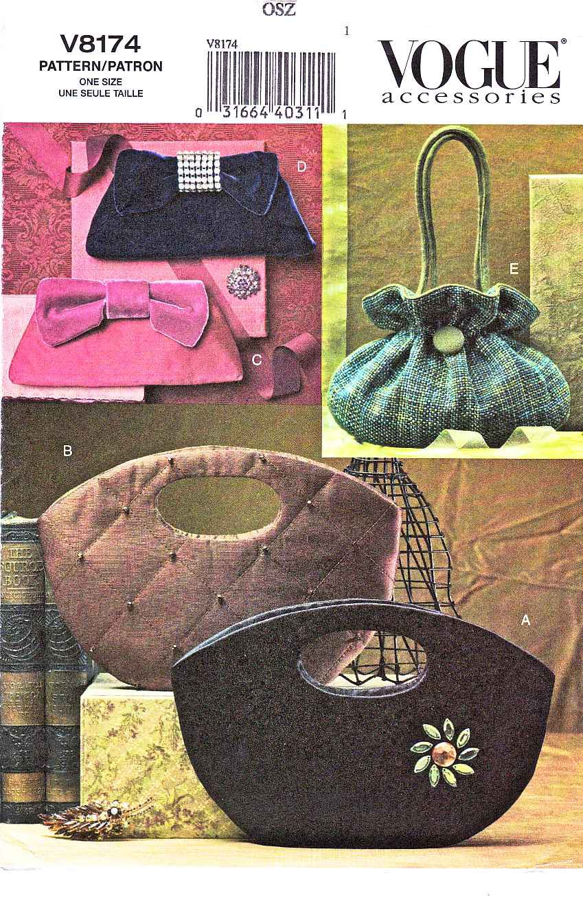 Vogue Sewing Pattern 8174 0678 Five Lined Bags Handbags Purses Pocketbook Clutch