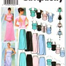 Simplicity Sewing Pattern 5953 Misses Size 4-10 Formal Prom Two Piece Dress Bustiers Skirts Purse