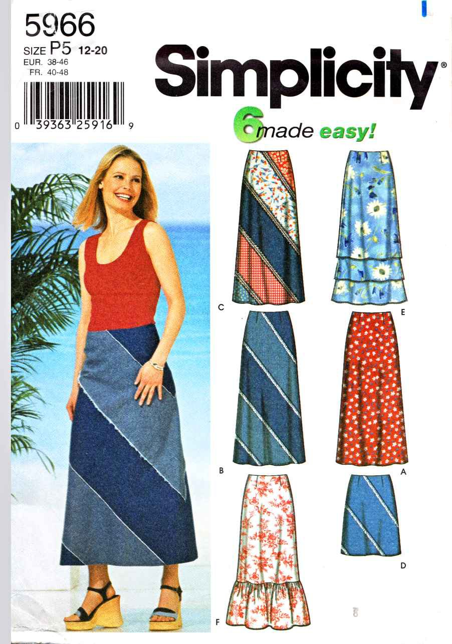 Simplicity Sewing Pattern 5966 Misses Size 4-10 Easy Long Short A-line Layered Ruffled  Skirts