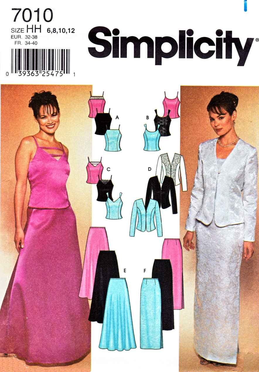 Simplicity Sewing Pattern 7010 Misses Size 6-12 Formal Two-Piece Dress Top Jacket Skirt