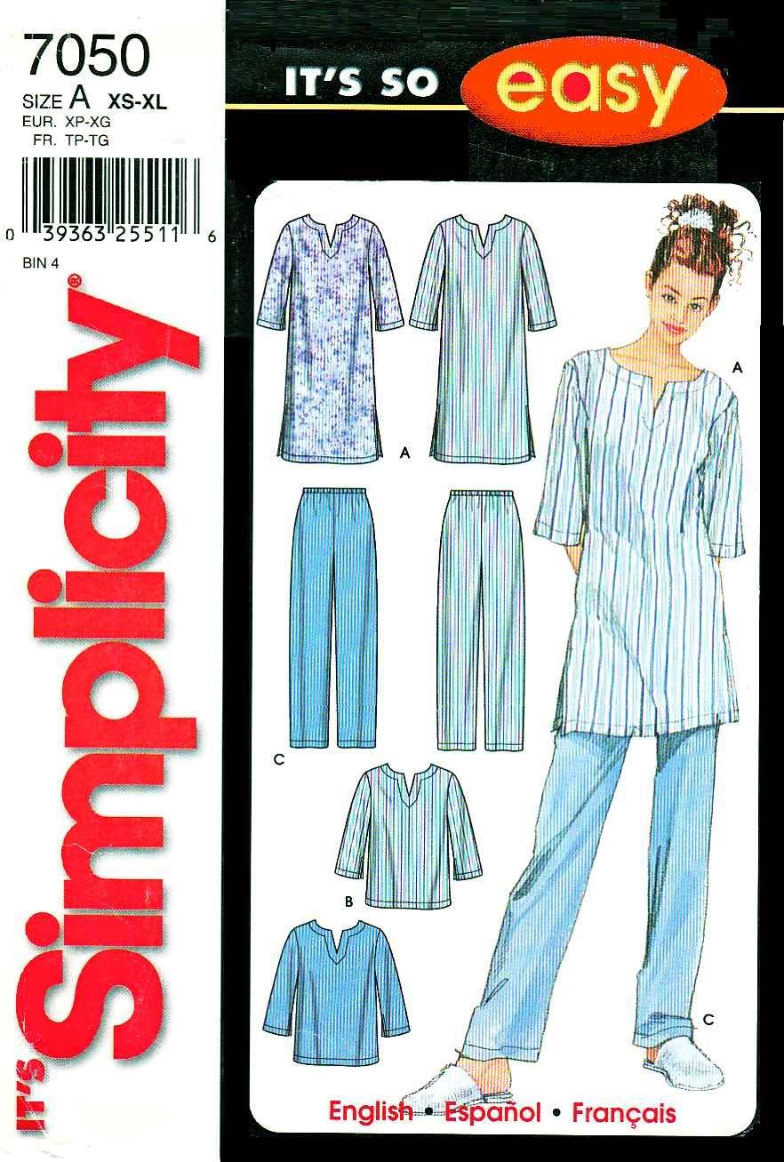 Simplicity Sewing Pattern 7050 Misses Size 6-24 Easy Sleepwear Nightgown Nightshirt Long Pants