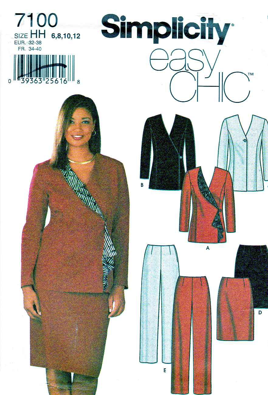 Simplicity Sewing Pattern 7100 Misses Size 6-12 Easy Skirt Pants Lined Jacket Suit Pantsuit