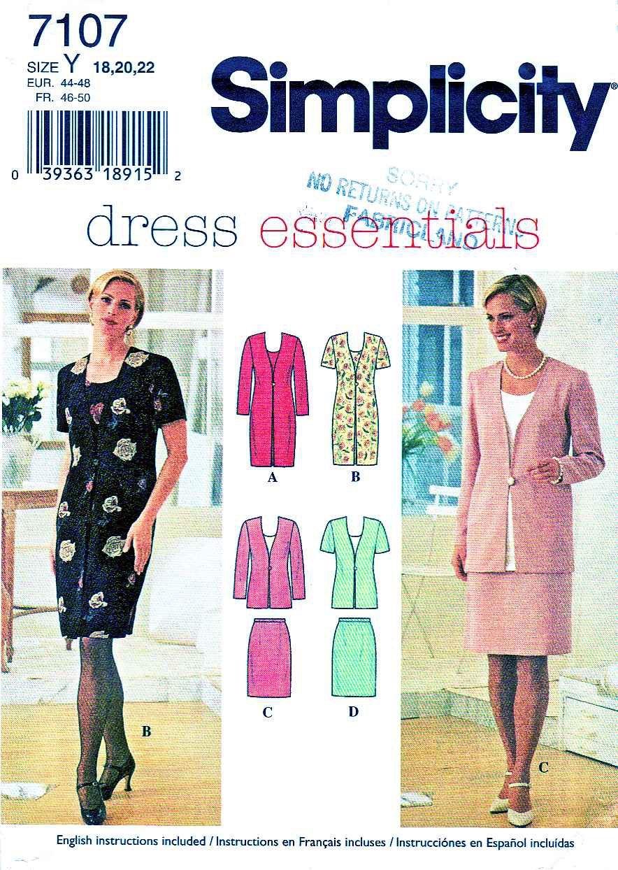 Simplicity Sewing Pattern 7107 Misses Size 18-22 Short Long Sleeve Dress Mock Jacket Straight Skirt