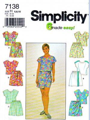 Simplicity Sewing Pattern 7138 Misses Size 6-10 Summer Sleeveless Top Shorts Sarong Style Skorts
