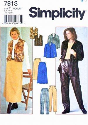 Simplicity Sewing Pattern 7813 Misses Size 18-22 Wardrobe Staples Jacket Skirt Vest Pants