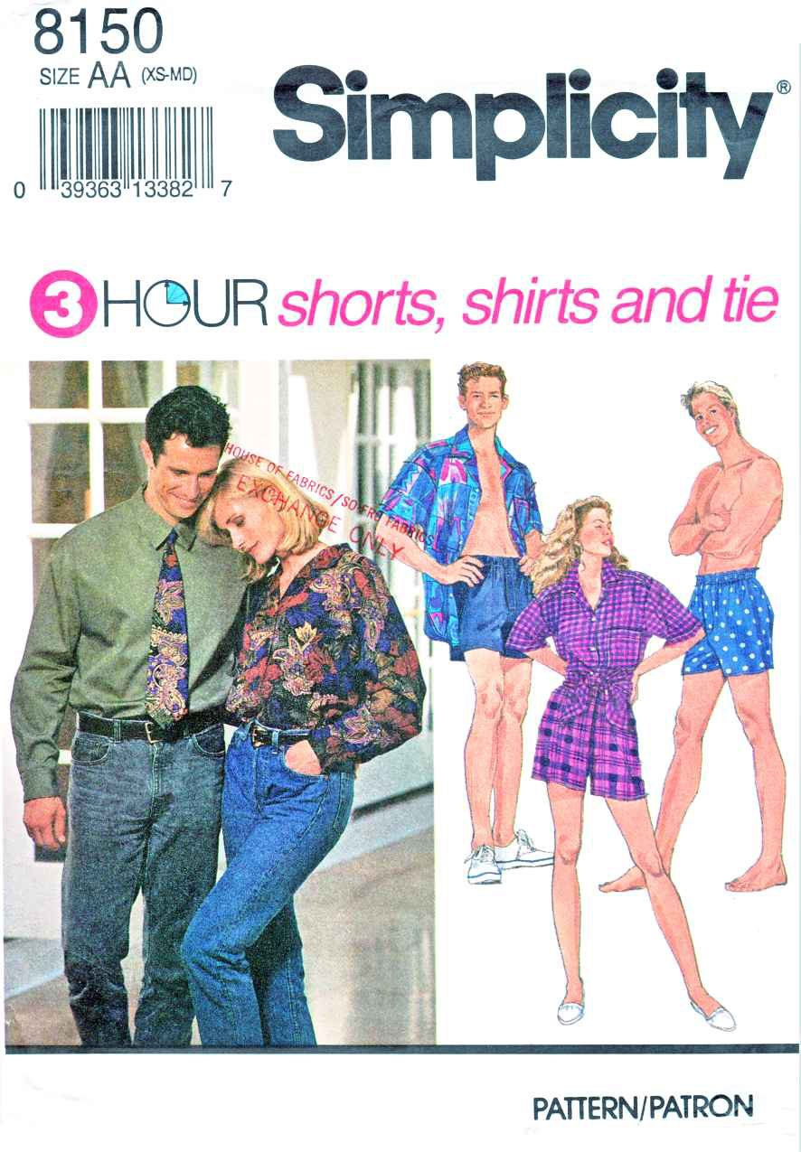 """Simplicity Sewing Pattern 8150 Misses Mens Unisex Chest Size 30-40"""" Shorts Button Front Shirt Tie"""