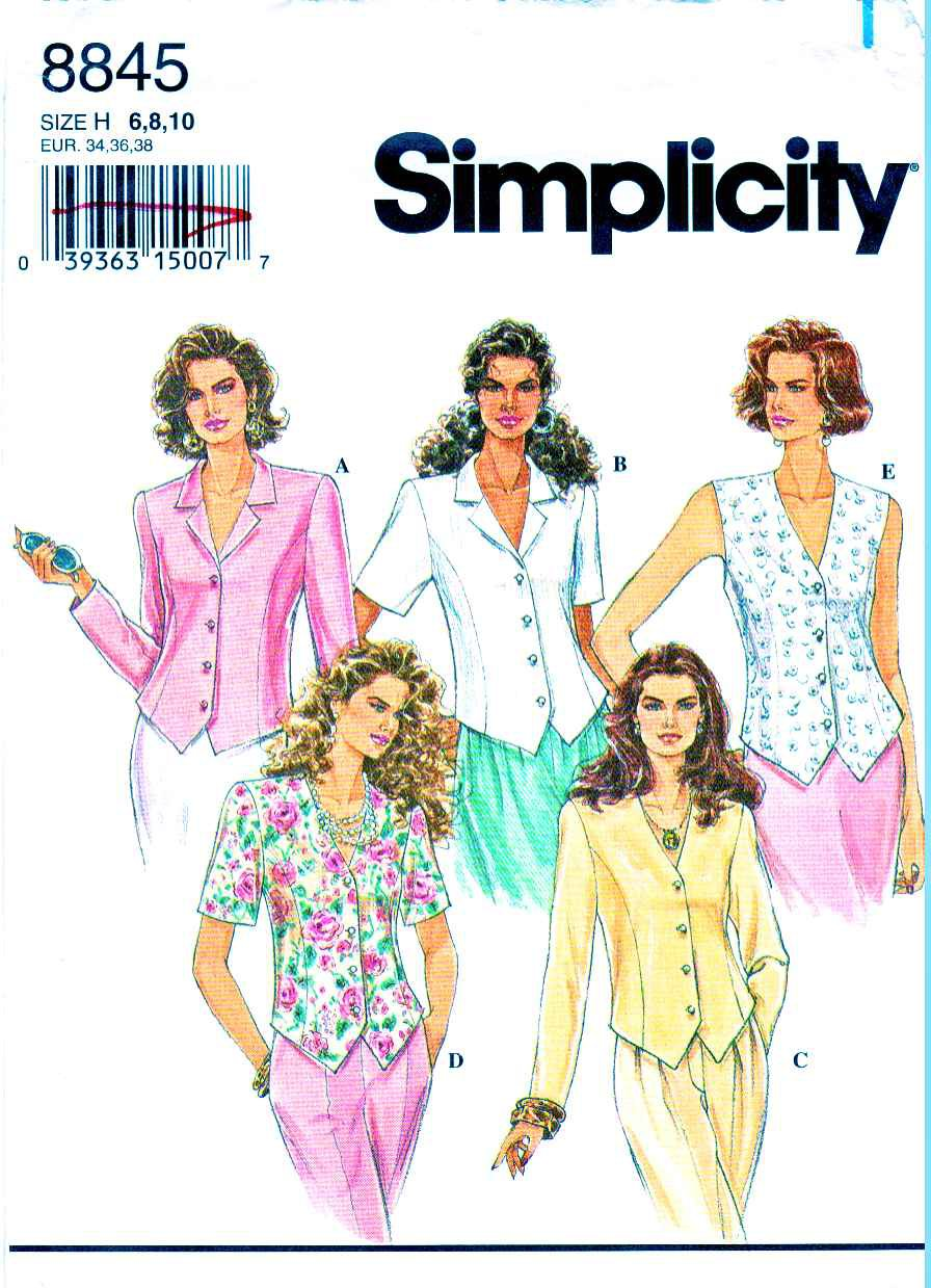 Simplicity Sewing Pattern 8845 Misses Size 6-10 Button Front Short Sleeve Sleeveless Tops Blouses