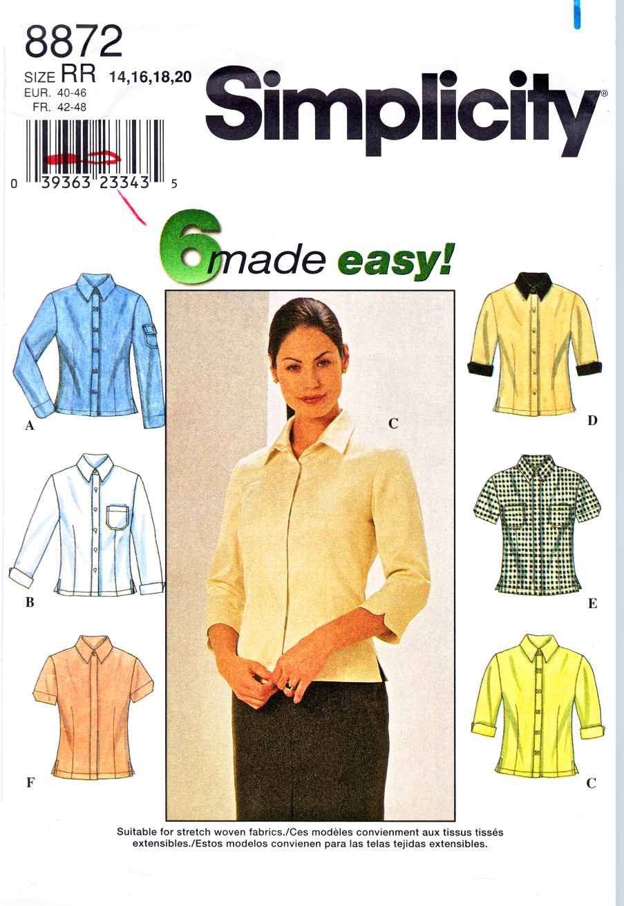 Simplicity Sewing Pattern 8872 Misses Size 6-12 Easy Button Front Blouses Shirts Sleeve Variations