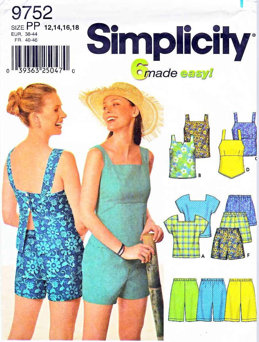 Simplicity Sewing Pattern 9752 Misses Size 4-10 Easy Summer Pull On Shorts SunTops
