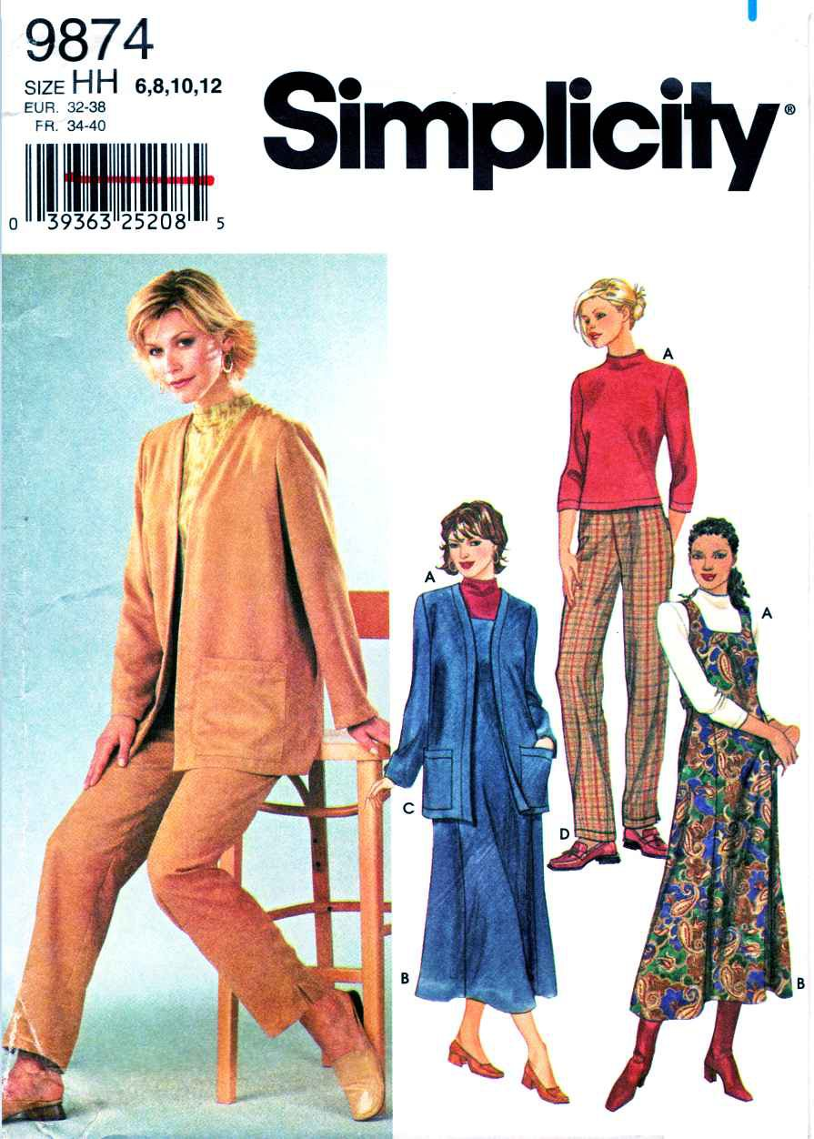 Simplicity Sewing Pattern 9874 Misses Size 6-12 Wardrobe Dress Cardigan Pants Pullover Top