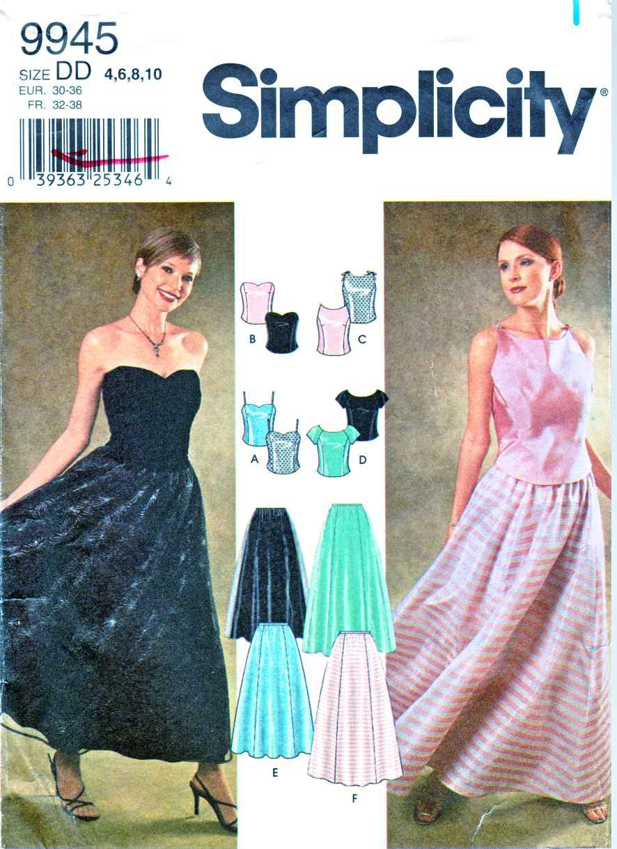 Simplicity Sewing Pattern 9945 Misses Size 12-18 Formal Two-Piece Dress Prom Top Long Skirt