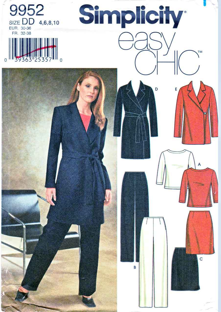 Simplicity Sewing Pattern 9952 Misses Size 4-10 Easy Wardrobe Pants Skirt Jacket Top