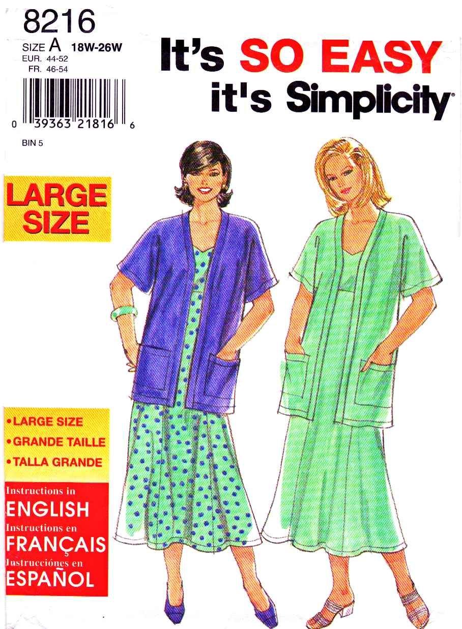 Simplicity Sewing Pattern 8216 Women's Plus Size 18W-26W ...