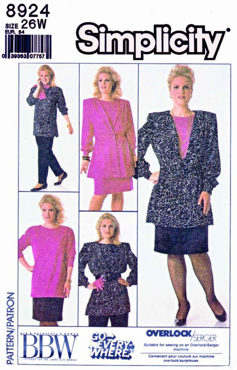 Simplicity Sewing Pattern 8924 Women's Plus Size 26W Wardrobe Pullover Top Skirt Jacket Pants