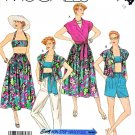McCall's Sewing Pattern 3144 Misses Size 10 Easy Summer Wardrobe Skirt Top Bra Pants Shorts