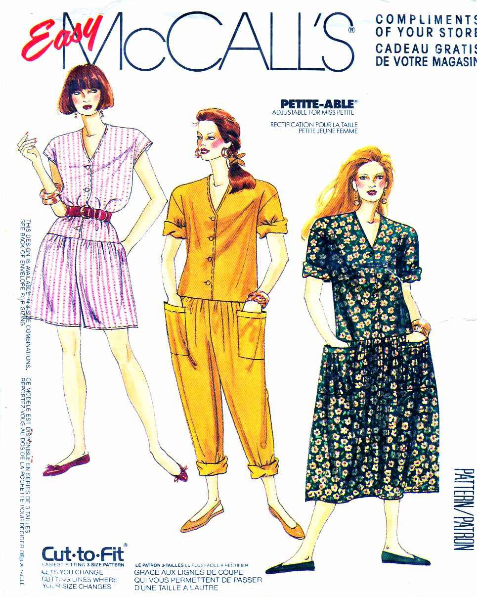 McCall�s Sewing Pattern 0022 Misses� Size 10-20 Easy Button Front Dropped Waist Dress Jumpsuit