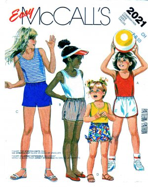 McCall�s Sewing Pattern 2021 Girls� Size 7-10 Easy Knit T-Shirt Tank Top Shorts