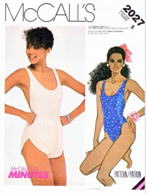 McCall�s Sewing Pattern 2027 Misses� Size 8 One Piece Maillot Knit Swimsuit Bathing Shorts