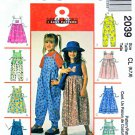 McCall's Sewing Pattern 2039 Girls Size 6-7-8 Gathered Skirt Pants Jumper Jumpsuit Appliques