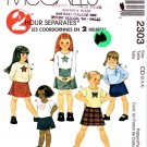 McCall's Sewing Pattern 2303 Girls' Size 2-3-4 Pullover Knit Short Long Sleeve Top Skirt