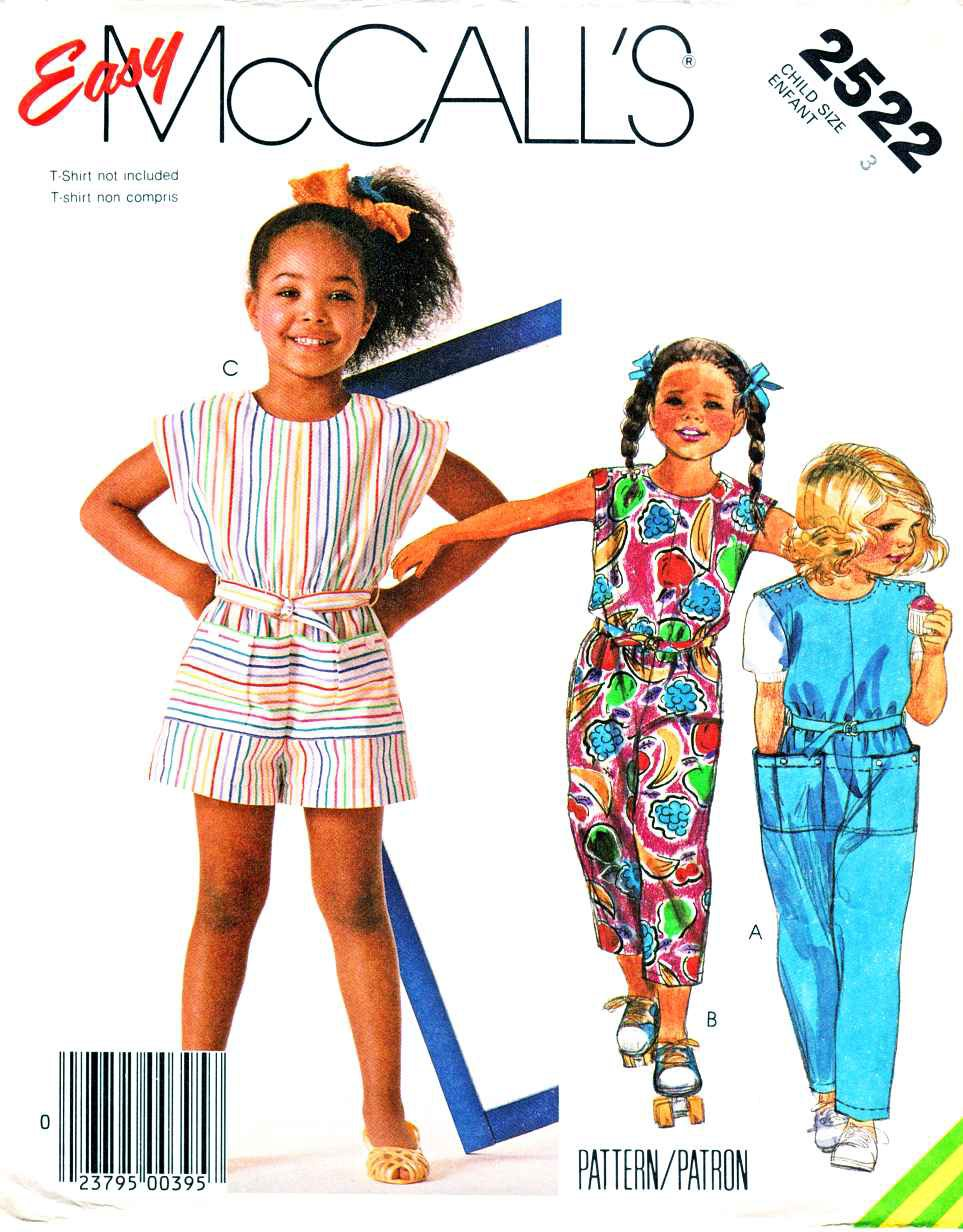 McCall�s Sewing Pattern 2522 Girls Size 3 Easy Sleeveless Jumpsuit Romper Sunsuit Belt