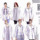 McCall's Sewing Pattern 2583 Misses Size 8-12 Front Button Long Sleeve Embellished Shirts