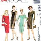 McCall's Sewing Pattern 2921 Misses Size 10-14 Easy Straight Dress Sleeve Options Purse Bag