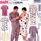 McCall's Sewing Pattern M2950 2950 Misses Mens Size 30 ½-31 ½ Easy Pajamas Nightshirt Slippers