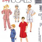 McCall's Sewing Pattern 2951 M2951 Boys Girls Size 12-14 Easy Sleepwear Pajamas Nightshirt