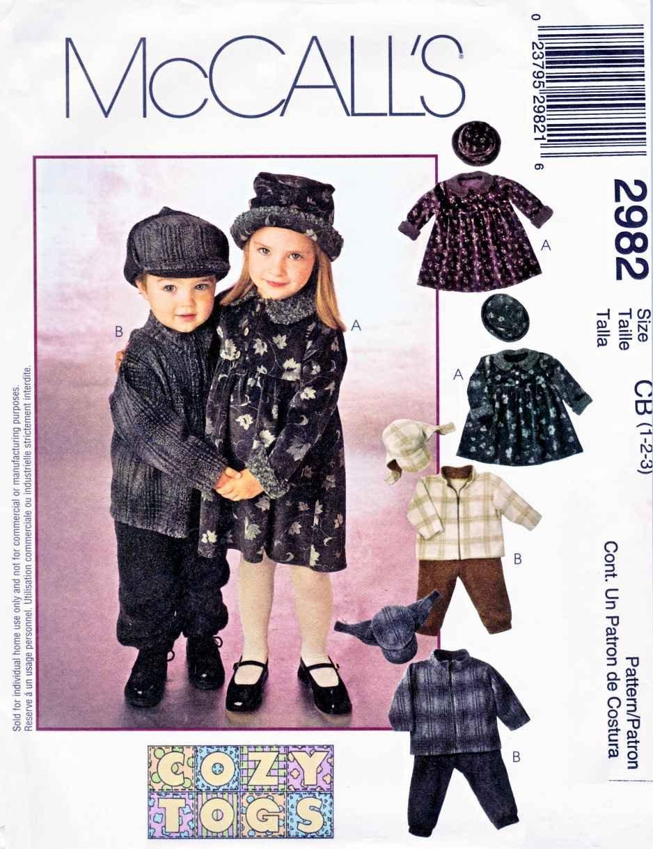 McCall�s Sewing Pattern 2982 Girls Boys Size 1-3 Dress Zipper Front Jacket Pull-on Pants Hats