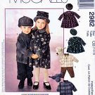 McCall's Sewing Pattern 2982 Girls Boys Size 1-3 Dress Zipper Front Jacket Pull-on Pants Hats