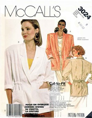 McCall�s Sewing Pattern 3024 Misses� Size 8-12 Unlined Button Front Drawstring Waist Jacket