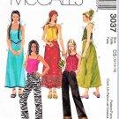 McCall's Sewing Pattern 3037 Girls' Size 7-10 Halter Tops Suntop A-line Skirt Bootleg Pants