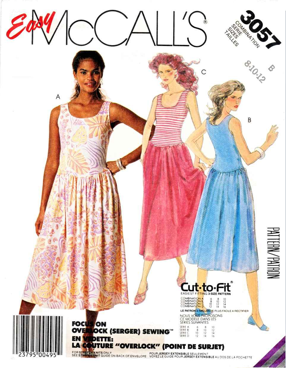McCall�s Sewing Pattern 3057 M3057 Misses� Size 6-10 Easy Sleeveless Pullover Summer Knit Dress