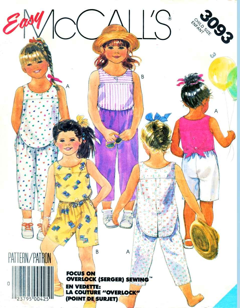 McCall�s Sewing Pattern 3093 Girls Size 3 Easy Summer Sleeveless Top Pants Shorts