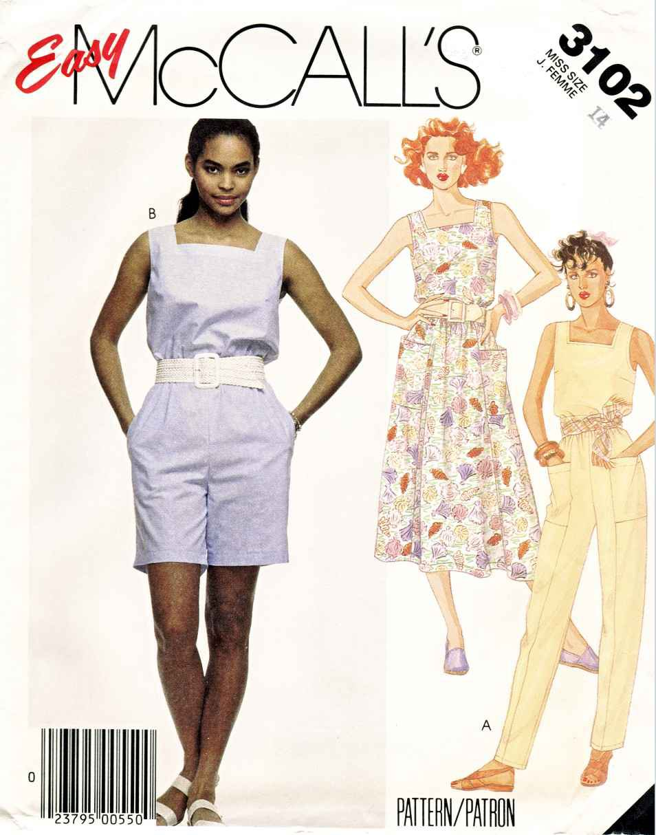 McCall�s Sewing Pattern 3102 Misses� Size 10 Easy Summer Sleeveless Dress Jumpsuit