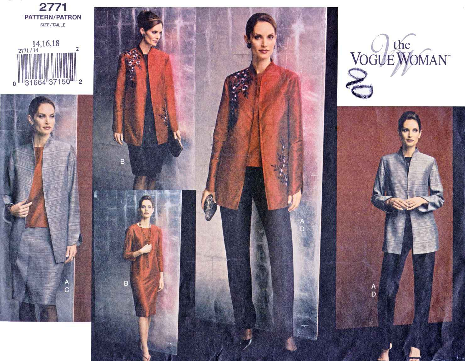 Vogue Sewing Pattern 2771 Misses Size 14-18 Easy Wardrobe Jacket Dress Top Skirt Pants