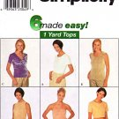 Simplicity Sewing Pattern 8747 Misses Size 4-8 Easy Pullover Knit Tops Sleeveless Short Sleeve