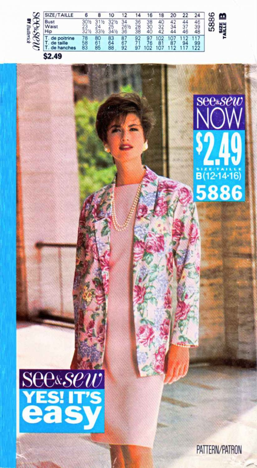 Butterick Sewing Pattern 5886 685 Misses Size 12-16 Easy Jacket Straight Dress