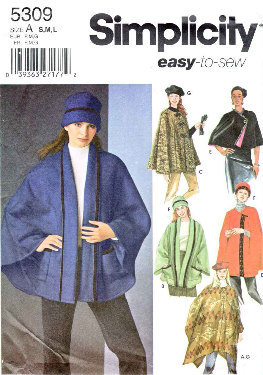 Simplicity Sewing Pattern 5309 Misses Size 10-20 Easy Poncho Cape Capelet Hat