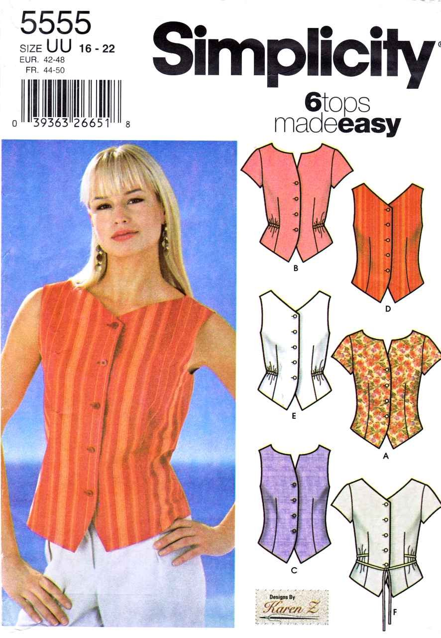Simplicity Sewing Pattern 5555 Misses Size 16-22 Easy Button Front Top Shirt Blouse Vest