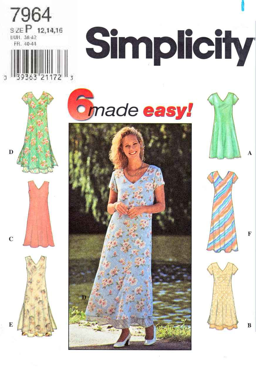 Simplicity Sewing Pattern 7964 Misses Size 18-22 Easy Pullover Flared Long Short Layered Dresses