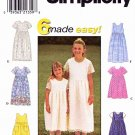 Simplicity Sewing Pattern 8030 Girls Size 7-12 Easy Summer Short Sleeve Sleeveless Dress
