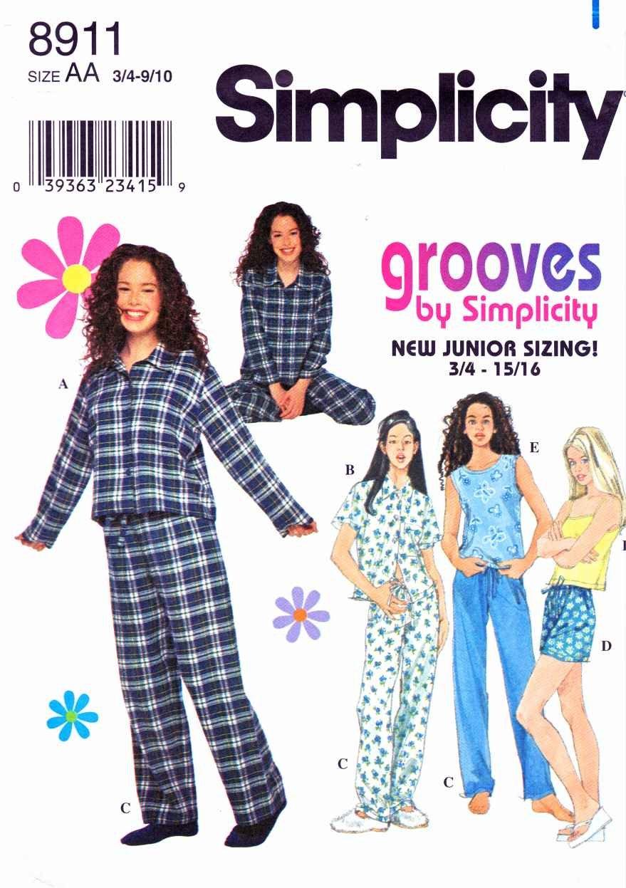 Simplicity Sewing Pattern 8911 Junior Size 11/12-15/16 Pajamas Pants Shorts Shirt Tank Top Camisole